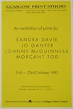 Exhibition Poster - An Exhibition of Prints by Sandra Davie, Jo Ganter, Johnny McGuinness and Morcant Tod