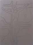 Linoblock for 'Stations of the Cross XII'
