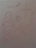 Linoblock for 'Stations of the Cross XIII'