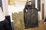 Slide: Stuart Duffin standing beside woodblocks by Janka Malkowska