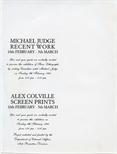 Invite Card: Michael Judge, Recent Work and Alex Colville, Screen Prints (1986)