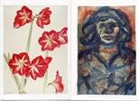 Invite Card: Elizabeth Blackadder and John Houston, Prints and Paintings (1987)