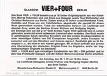 Invite Card: Vier + Four, (1991)
