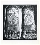 Invite Card: Christine Ironside, The Buddha's Footprints: Lithographs and Monotypes  (1994)