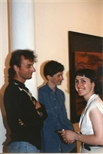 Photograph: Three People at 'Touchstones' Exhibition Opening (1990)