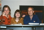 Photograph: Three Guests at 'Touchstones' Exhibition Opening (1990)