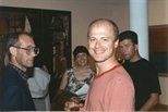 Photograph: Dominic Snyder at 'Touchstones' Exhibition Opening (1990)