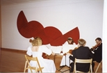 Photograph:Musicians and Red Sculpture at the Opening of 'Breaking the Ice' Exhibition (1992)