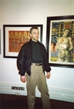 Photograph: Murray Robertson at the Opening of Unique and Original Exhibition at the Barbican (1992)