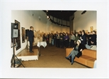 Photograph:  Richard Jobson Presenting at the Opening of 'Unique and Original' Exhibition (1992)