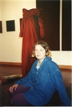 Photograph: Veronique Chance with sculpture from her exhibition (1994)