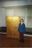 Photograph: Veronique Chance with sculpture 'Garment' from her exhibition (1994)