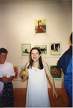 Photograph: Janie Nicoll at her group exhibition 'Terra Incognito' (1994)