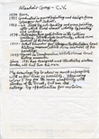 Handwritten Alasdair Gray C.V.