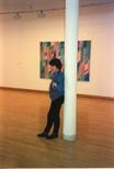 Photograph: Bridget Riley posing for photographs (1996)