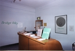 Photograph: Reception desk and entrance to Bridget Riley exhibition. (1996)