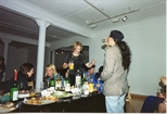 Photograph: Social gathering at Glasgow Print Studio Gallery, between exhibitions (1996)