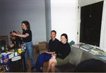 Photograph: Various people at a gathering at Glasgow Print Studio Gallery (1996)