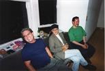 Photograph: 3 people sitting on window seat of Glasgow Print Studio Gallery (1996)