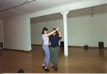 Photograph: 2 people dancing in Glasgow Print Studio Gallery (1996)