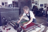 Photograph: John Taylor screen-printing in Glasgow Print Studio workshop