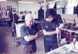 Photograph: James McDonald in the Glasgow Print Studio workshop in Ingram Street