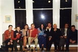Photograph: The opening of John Taylor's exhibition 'John Taylor - Walking on the Beach and Other Paintings' (1998)