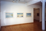 Photograph: 3 John Taylor watercolours in Glasgow Print Studio Gallery as part of the exhibition 'John Taylor - Walking on the Beach and Other Paintings' (1998)