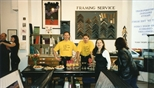Photograph: The opening of Janie Nicoll and Ashley Cook's exhibition in the Glasgow Print Studio shop (1997)