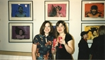 Photograph: Linda Thomson and Ashley Cook at Ashley and Janie Nicoll's exhibition in the Glasgow Print Studio shop (1997)
