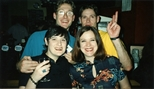 Photograph: Norman Mathieson, his brother Martin Mathieson, Linda Thomson and one unknown women posing for a photograph on a night out (1997)