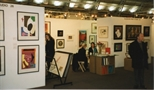 Photograph: The stand and desk of the Glasgow Print Studio Gallery stand at 'Art 97' in London. (1997)