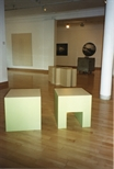 Photograph: Various sculptures and works from the 'Blueprints' exhibition at Glasgow Print Studio Gallery (1997)