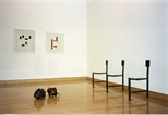 Photograph: Unknown sculptures and prints from the 'Blueprints' exhibition at the Glasgow Print Studio Gallery (1997)