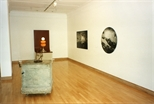 Photograph: Several Mark Hosking's works from the exhibition 'Blueprints' at the Glasgow Print Studio Gallery (1997)