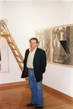 Photograph: Jean Yves Langlois in Glasgow Print Studio gallery during his exhibition (1997)