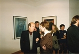 Photograph: Various people viewing the John Taylor exhibition 'New Work' at Glasgow Print Studio Gallery (1991)