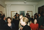 Photograph: Large group of people at the opening of the exhibition 'John Taylor- New Work' (1991)