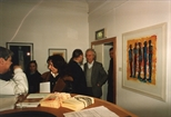 Photograph: John Taylor at the opening of his exhibition 'John Taylor - New Work' (1991)