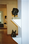 Photograph: 4 Bronzes by Ray Richardson from his exhibition 'Paintings and Prints' in Glasgow Print Studio Gallery(1998)