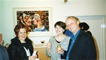 Photograph: 3 unknown people at the opening of the exhibition 'Mark Hampson - Prints' (1998)