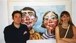 Photograph: Two people in front of a picture at the opening of the exhibition 'Mark Hampson - Prints' (1998)