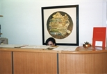 Photograph: The front desk of the Glasgow Print Studio Gallery during the James McDonald exhibition 'Paintings' (1998)