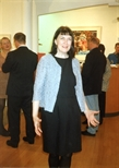 Photograph: Sue MacKechnie at the opening for both 'Ray Richardson - Paintings and Prints' and 'Mark Hampson - Prints' in Glasgow Print Studio Gallery (1998)