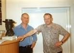 Photograph: John MacKechnie and Ray Richardson in Glasgow Print Studio Gallery (1998)