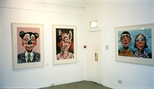 Photograph: 3 prints by Mark Hampson from his exhibition 'Mark Hampson - Prints' in Glasgow Print Studio Gallery (1998)