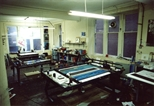 Photograph: The screenprinting area in the Glasgow Print Studio workshop (around 1990)