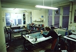 Photograph: Stuart Duffin working in the screenprinting area of the Glasgow Print Studio workshop (around 1990)