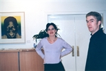 Photograph: Will Maw and an unknown woman in Glasgow Print Studio Gallery (1999)