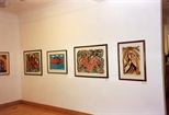 Photograph: Several prints from the exhibition 'Janka Malkowska - 1912-1997' in Glasgow Print Studio (2000)